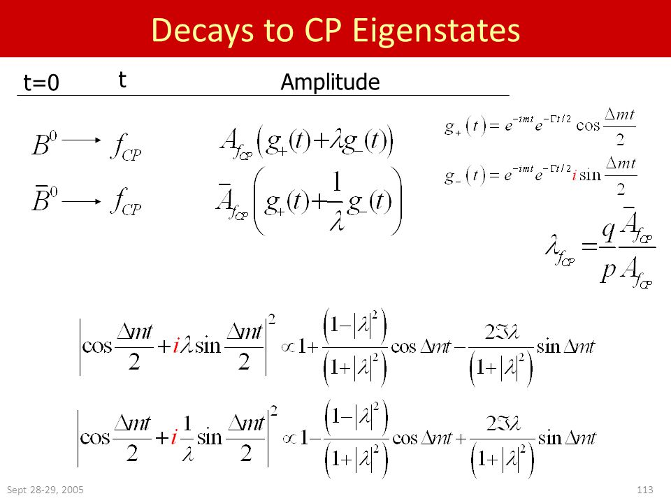 Sept 28-29, 2005113 Decays to CP Eigenstates t=0 t Amplitude