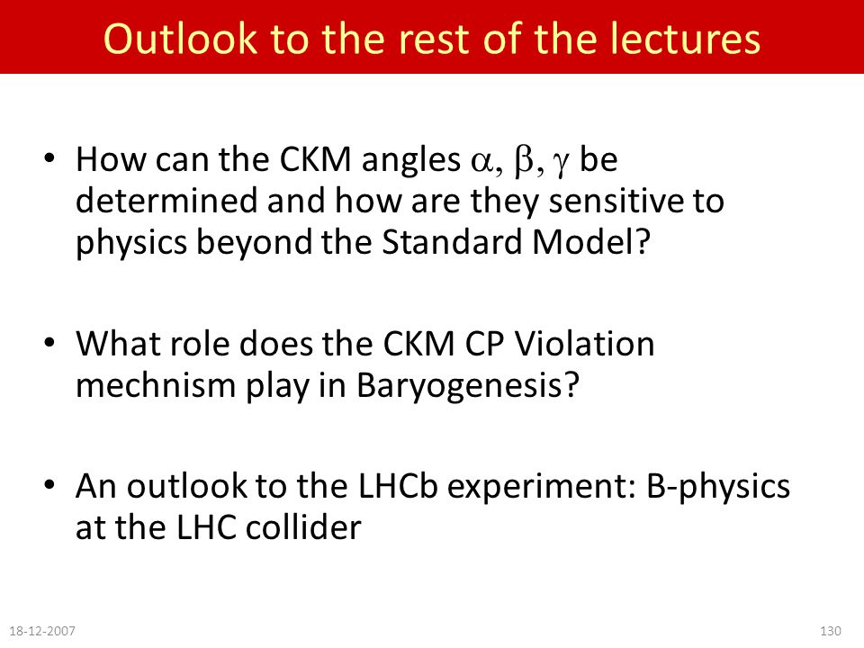 Outlook to the rest of the lectures How can the CKM angles  be determined and how are they sensitive to physics beyond the Standard Model.