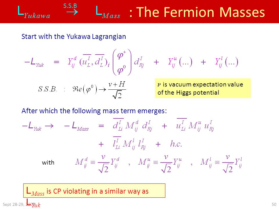 Sept 28-29, : The Fermion Masses S.S.B Start with the Yukawa Lagrangian After which the following mass term emerges: with L Mass is CP violating in a similar way as L Yuk  is vacuum expectation value of the Higgs potential