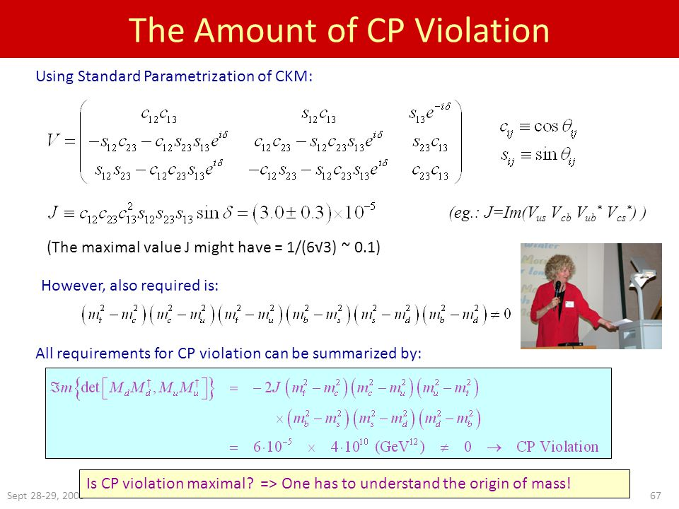 Sept 28-29, 200567 The Amount of CP Violation However, also required is: All requirements for CP violation can be summarized by: (The maximal value J might have = 1/(6√3) ~ 0.1) Using Standard Parametrization of CKM: Is CP violation maximal.