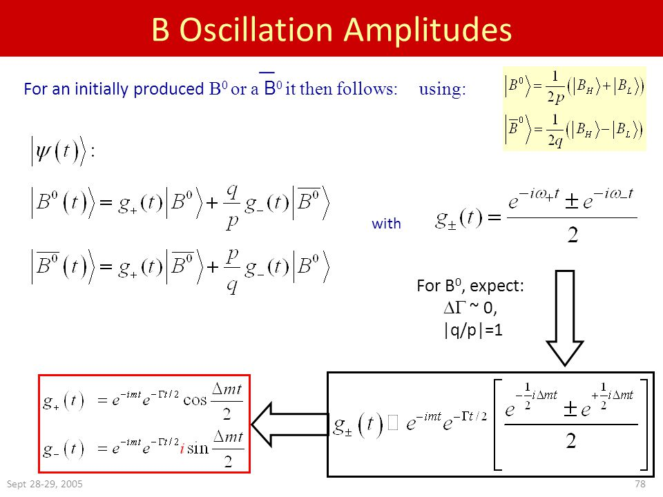 Sept 28-29, B Oscillation Amplitudes For B 0, expect:  ~ 0, |q/p|=1 For an initially produced B 0 or a B 0 it then follows: using: with