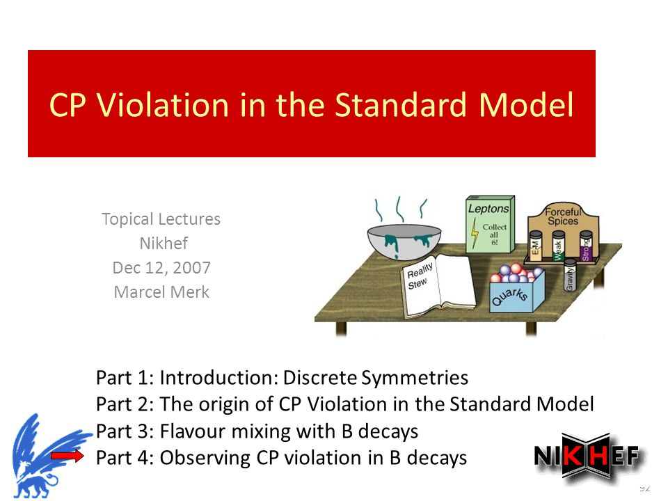 Sept 28-29, CP Violation in the Standard Model Topical Lectures Nikhef Dec 12, 2007 Marcel Merk Part 1: Introduction: Discrete Symmetries Part 2: The origin of CP Violation in the Standard Model Part 3: Flavour mixing with B decays Part 4: Observing CP violation in B decays
