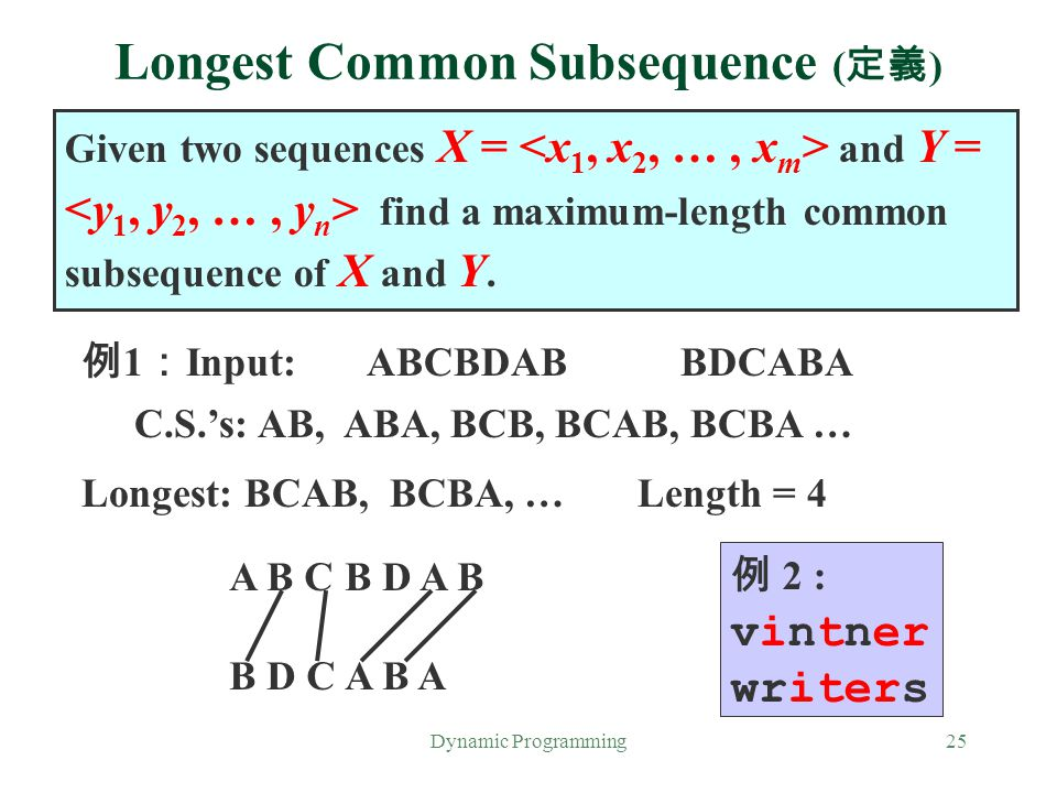 Dynamic Programming25 Longest Common Subsequence ( 定義 ) Given two sequences X = and Y = find a maximum-length common subsequence of X and Y. 例 1 : Inp