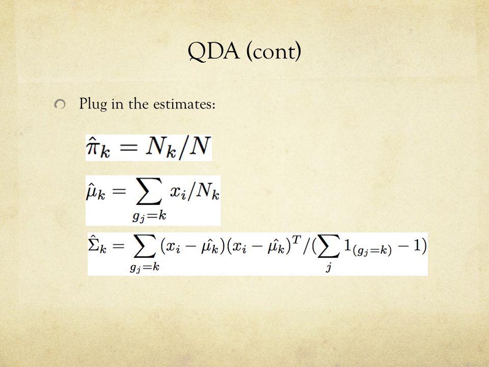 QDA (cont) Plug in the estimates: