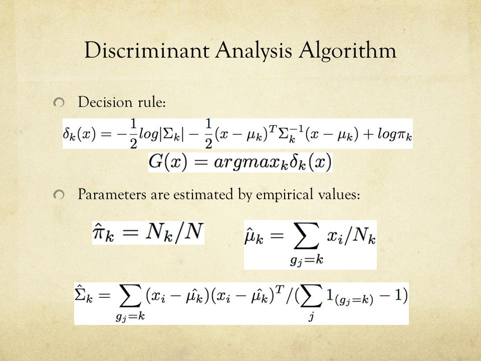 Discriminant Analysis Algorithm Decision rule: Parameters are estimated by empirical values: