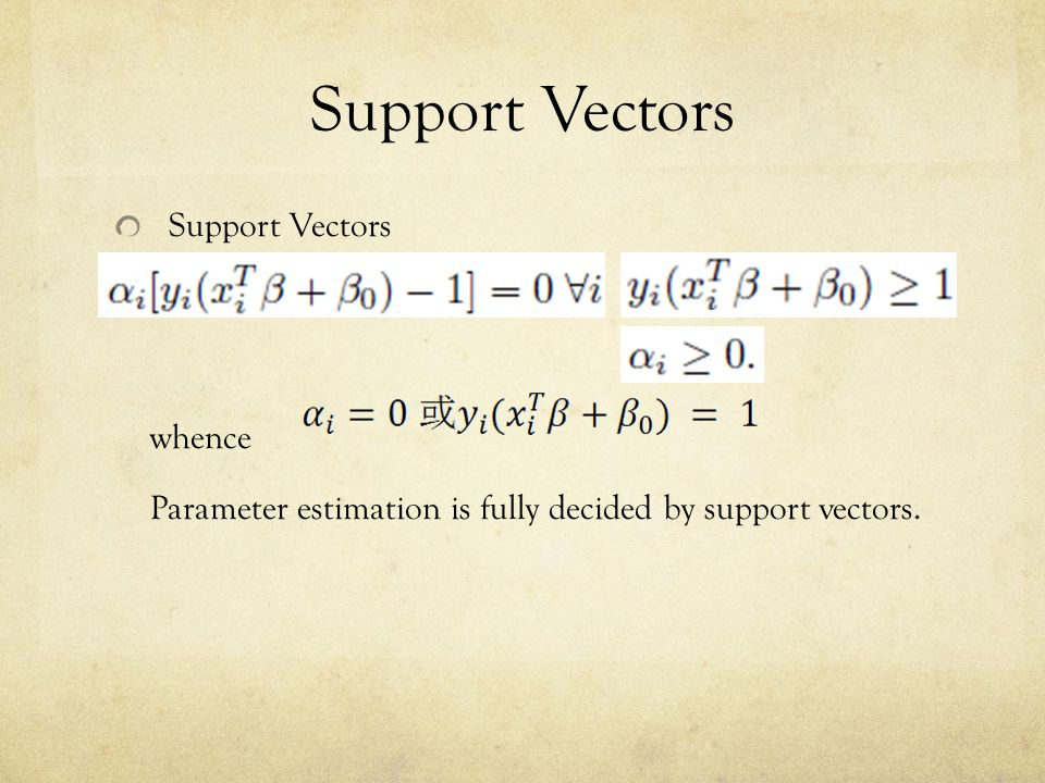 Support Vectors whence Parameter estimation is fully decided by support vectors.