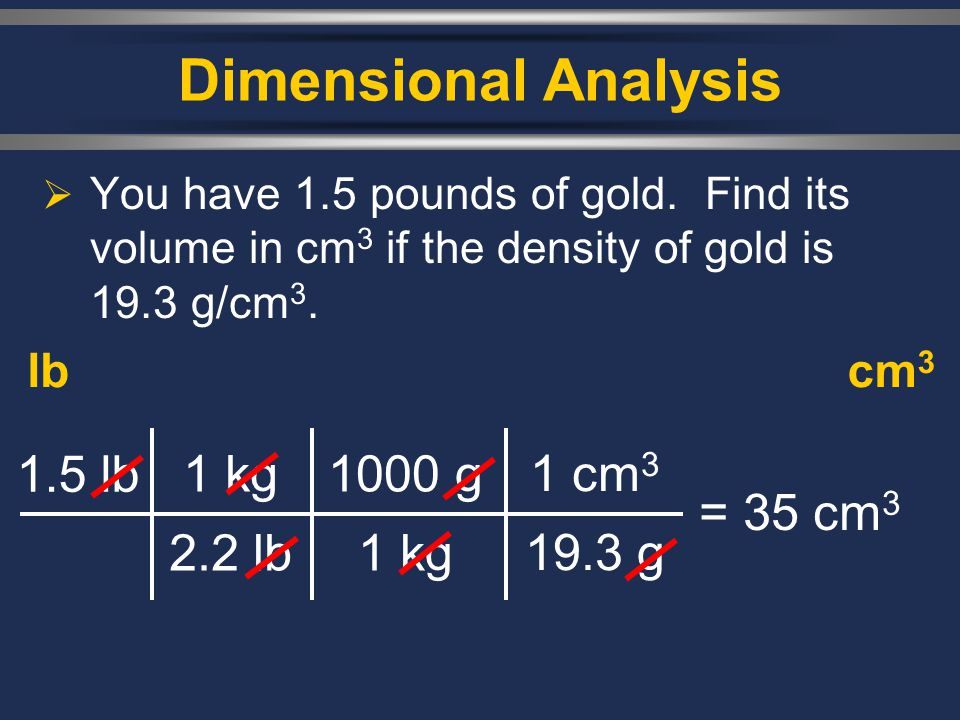 Dimensional Analysis  You have 1.5 pounds of gold. Find its volume in cm 3 if the density of gold is 19.3 g/cm 3. lbcm 3 1.5 lb 1 kg 2.2 lb = 35 cm 3