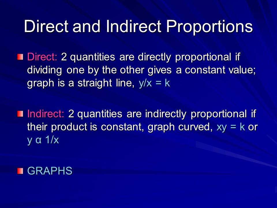 Direct and Indirect Proportions Direct: 2 quantities are directly proportional if dividing one by the other gives a constant value; graph is a straigh