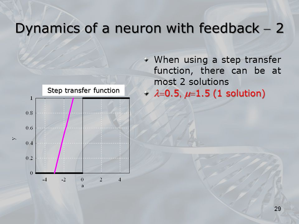 When using a step transfer function, there can be at most 2 solutions 0.5,  1.5 (1 solution) 0.5,  1.5 (1 solution) 29 Dynamics of a neuron with
