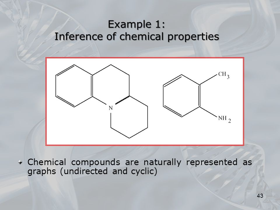 Example 1: Inference of chemical properties Chemical compounds are naturally represented as graphs (undirected and cyclic) 43
