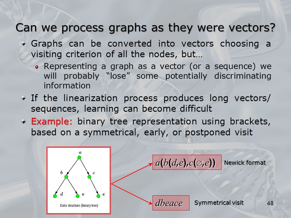 Graphs can be converted into vectors choosing a visiting criterion of all the nodes, but… Representing a graph as a vector (or a sequence) we will pro