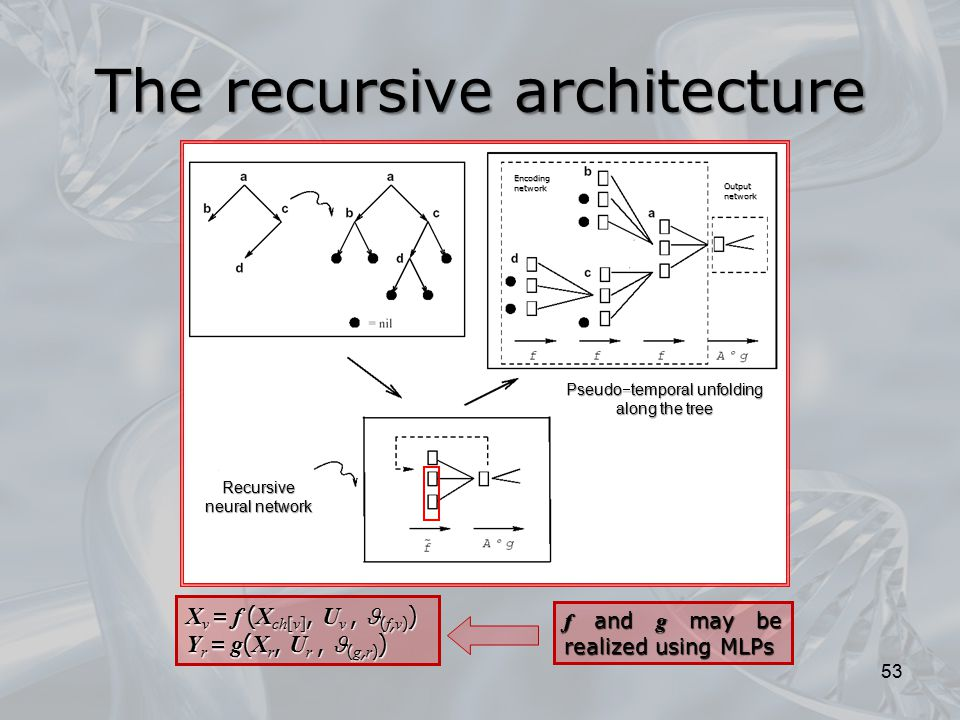 X v  f ( X ch [ v ], U v, ( f, v ) ) Y r  g ( X r, U r, ( g, r ) ) f and g may be realized using MLPs The recursive architecture 53 Output network E