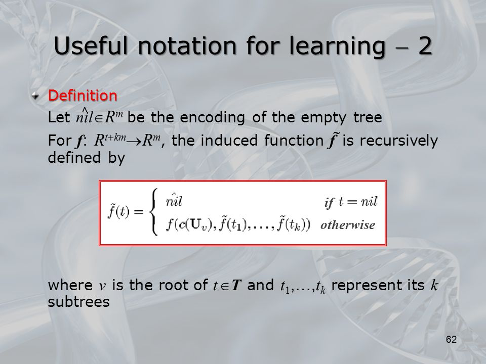 Definition Let nil  R m be the encoding of the empty tree For f : R t  km  R m, the induced function f is recursively defined by where v is the roo
