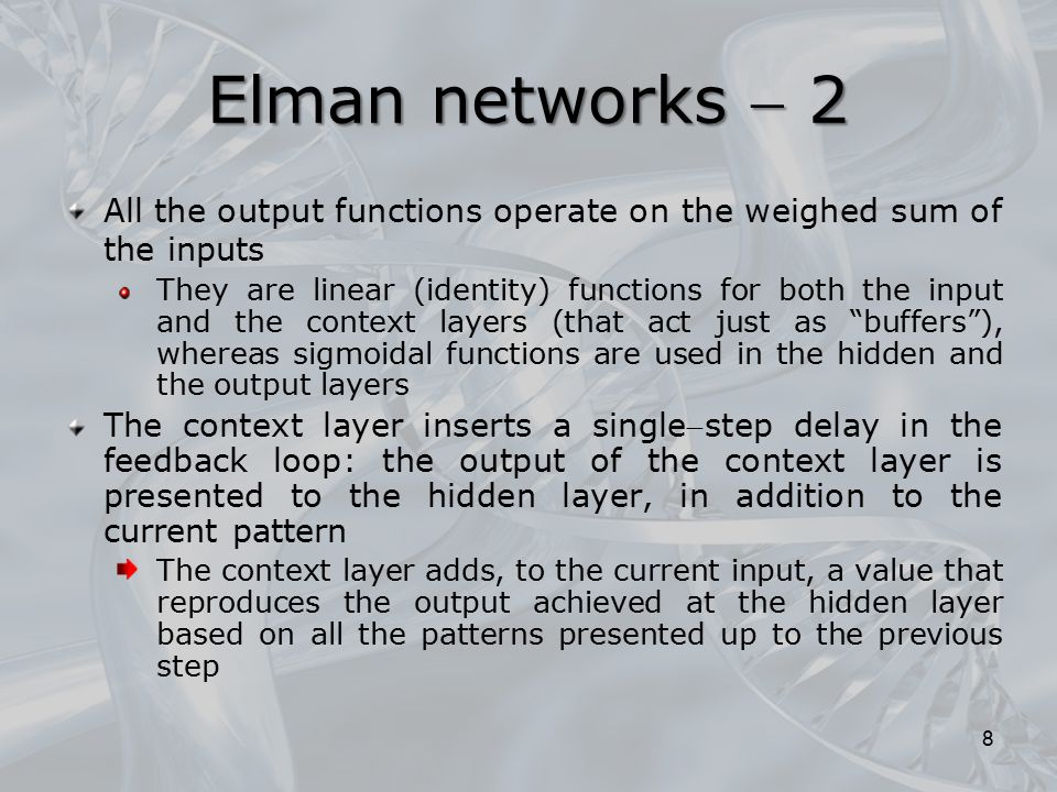 Recursive neural networks are a powerful computational tool for processing structured data, able to bridge the historical gap between classical connectionist techniques, which are tailored to poorly organized data, and a wide variety of realworld problems in which the information is naturally encoded in relationships among the basic entities Recursive networks process information in the form of ordered, directed and acyclic graphs or, more simply, of recursiveequivalent trees Some comments… 59