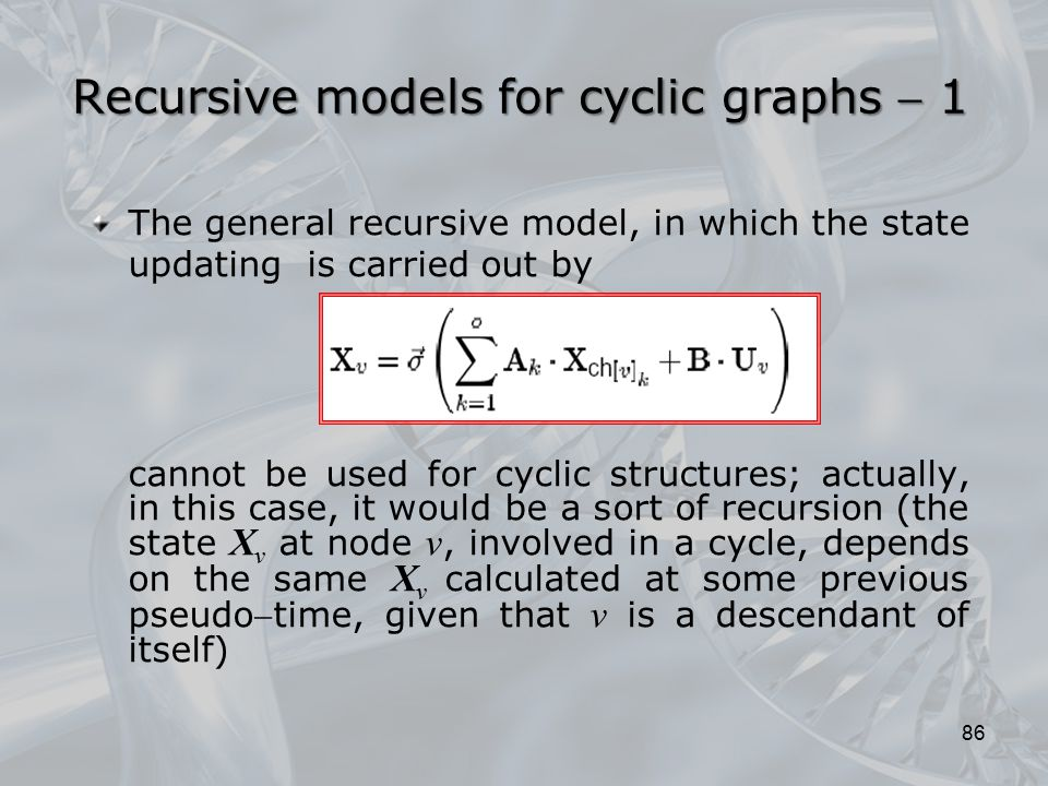 Recursive models for cyclic graphs  1 The general recursive model, in which the state updating is carried out by cannot be used for cyclic structures