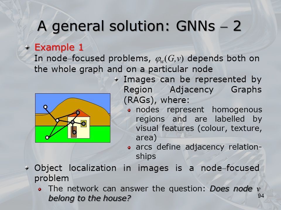 Images can be represented by Region Adjacency Graphs (RAGs), where: nodes represent homogenous regions and are labelled by visual features (colour, te