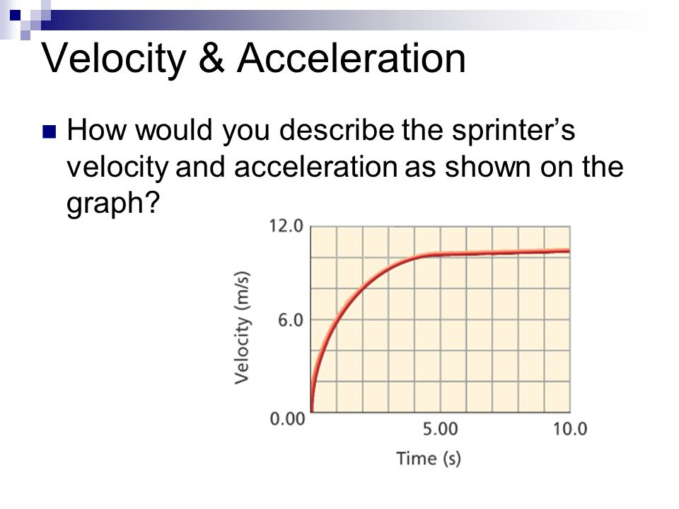 Velocity & Acceleration How would you describe the sprinter's velocity and acceleration as shown on the graph?
