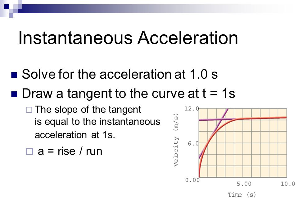 Instantaneous Acceleration Solve for the acceleration at 1.0 s Draw a tangent to the curve at t = 1s  The slope of the tangent is equal to the instan