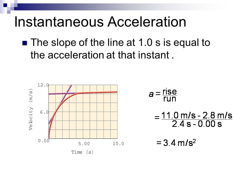 Instantaneous Acceleration The slope of the line at 1.0 s is equal to the acceleration at that instant.