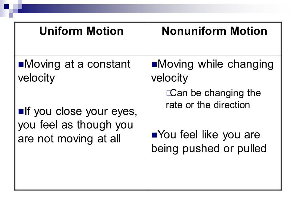 Uniform MotionNonuniform Motion Moving at a constant velocity If you close your eyes, you feel as though you are not moving at all Moving while changi