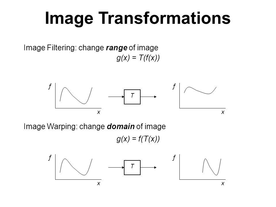 Image Transformations Image Filtering: change range of image g(x) = T(f(x)) f x T f x f x T f x Image Warping: change domain of image g(x) = f(T(x))