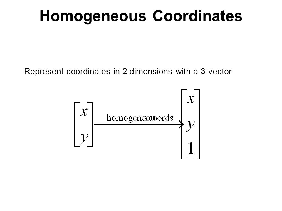 Homogeneous Coordinates Represent coordinates in 2 dimensions with a 3-vector