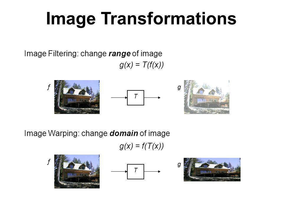 Image Transformations TT f f g g Image Filtering: change range of image g(x) = T(f(x)) Image Warping: change domain of image g(x) = f(T(x))