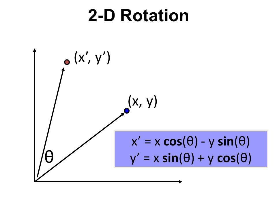 2-D Rotation x = r cos (  ) y = r sin (  ) x' = r cos (  + θ) y' = r sin (  + θ) Trig Identity… x' = r cos(  ) cos(θ) – r sin(  ) sin(θ) y' = r sin(  ) cos(θ) + r cos(  ) sin(θ) Substitute… x' = x cos(θ) - y sin(θ) y' = x sin(θ) + y cos(θ) θ (x, y) (x', y') 