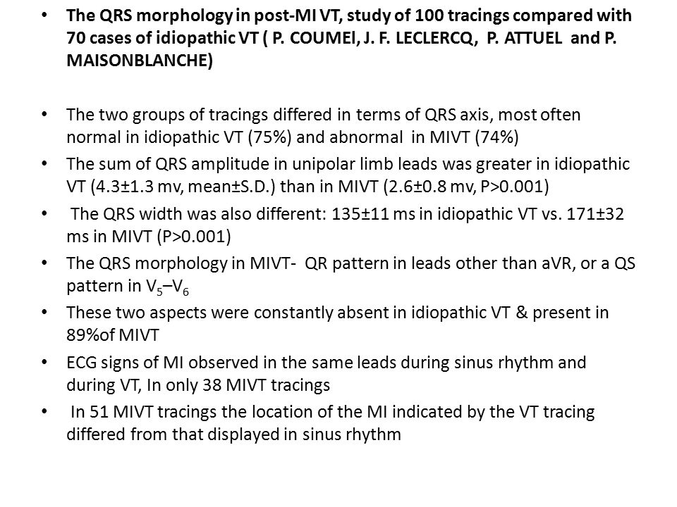 The QRS morphology in post-MI VT, study of 100 tracings compared with 70 cases of idiopathic VT ( P. COUMEl, J. F. LECLERCQ, P. ATTUEL and P. MAISONBL