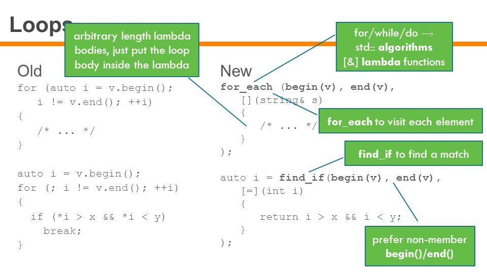 Loops Old for (auto i = v.begin(); i != v.end(); ++i) { /*...