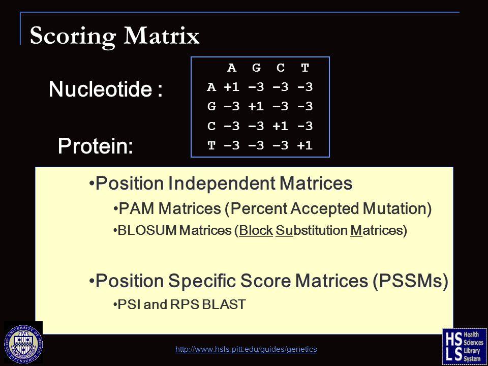 Scoring Matrix Nucleotide : A G C T A +1 –3 –3 -3 G –3 +1 –3 -3 C –3 –3 +1 -3 T –3 –3 –3 +1 Protein: Position Independent MatricesPosition Independent Matrices PAM Matrices (Percent Accepted Mutation) BLOSUM Matrices (Block Substitution Matrices) Position Specific Score Matrices (PSSMs)Position Specific Score Matrices (PSSMs) PSI and RPS BLAST http://www.hsls.pitt.edu/guides/genetics
