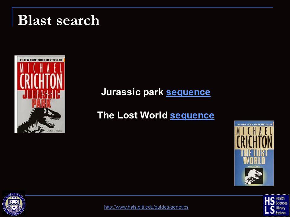 Blast search Jurassic park sequencesequence The Lost World sequencesequence http://www.hsls.pitt.edu/guides/genetics