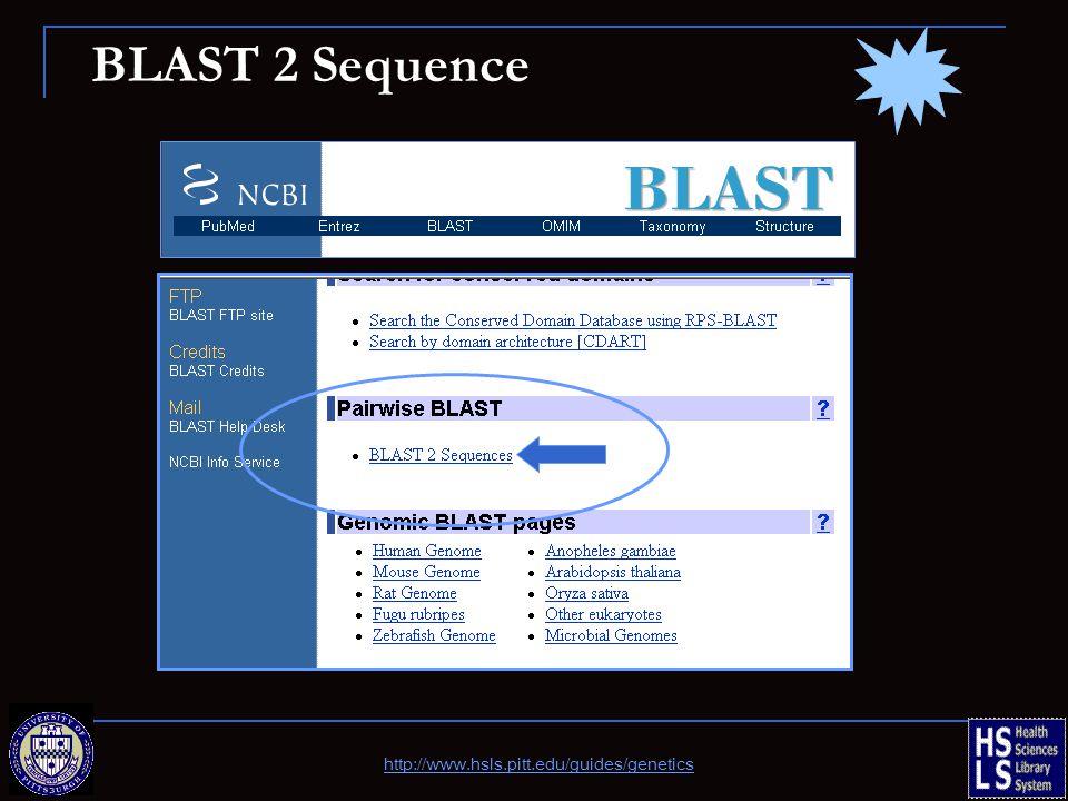BLAST 2 Sequence http://www.hsls.pitt.edu/guides/genetics