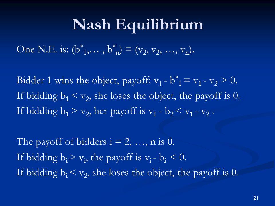 One N.E. is: (b * 1,…, b * n ) = (v 2, v 2, …, v n ). Bidder 1 wins the object, payoff: v 1 - b * 1 = v 1 - v 2 > 0. If bidding b 1 < v 2, she loses t