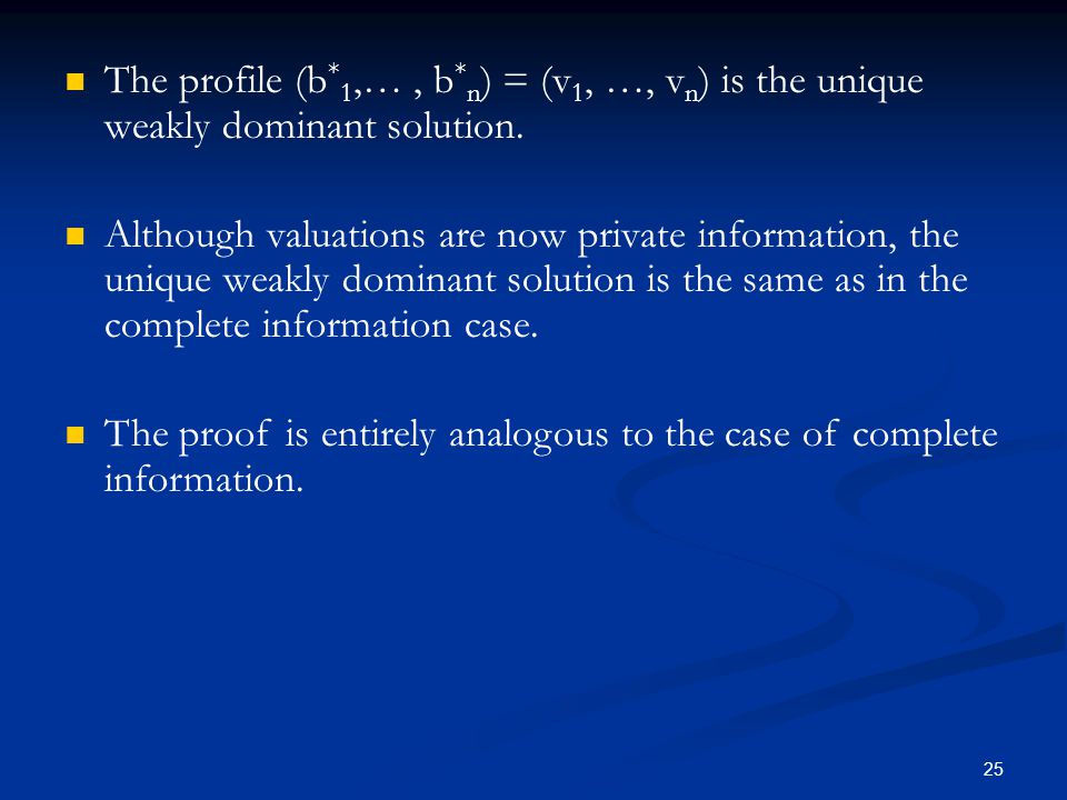 The profile (b * 1,…, b * n ) = (v 1, …, v n ) is the unique weakly dominant solution.