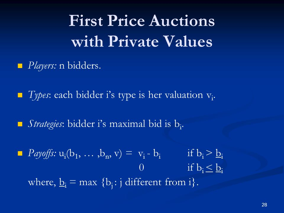 First Price Auctions with Private Values Players: n bidders.