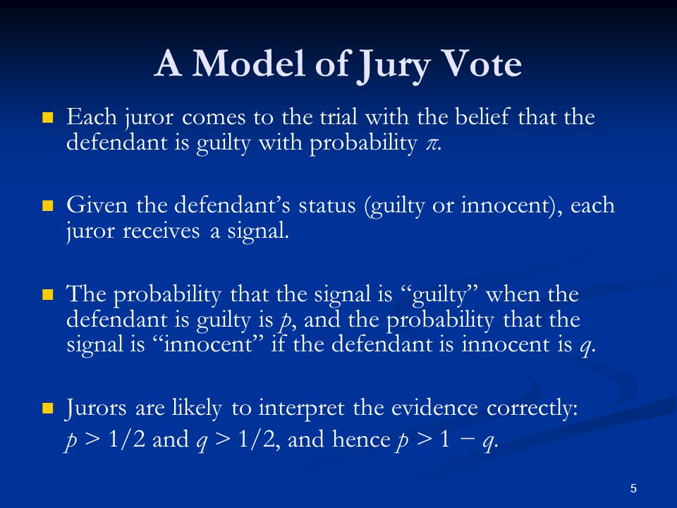 Each juror comes to the trial with the belief that the defendant is guilty with probability π.