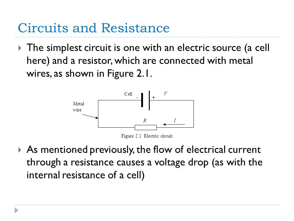 Circuits and Resistance  The simplest circuit is one with an electric source (a cell here) and a resistor, which are connected with metal wires, as shown in Figure 2.1.
