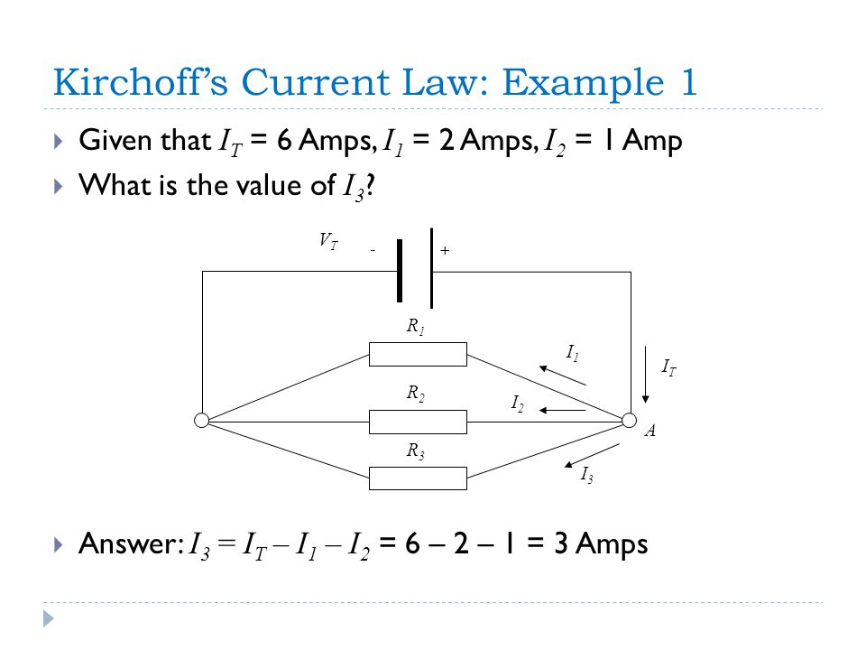 + A - I2I2 I3I3 I1I1 R1R1 R2R2 R3R3 ITIT VTVT Kirchoff's Current Law: Example 1  Given that I T = 6 Amps, I 1 = 2 Amps, I 2 = 1 Amp  What is the value of I 3 .