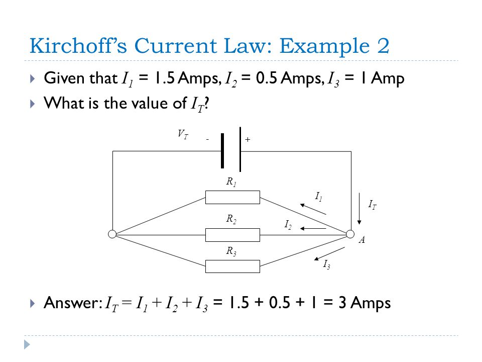 + A - I2I2 I3I3 I1I1 R1R1 R2R2 R3R3 ITIT VTVT Kirchoff's Current Law: Example 2  Given that I 1 = 1.5 Amps, I 2 = 0.5 Amps, I 3 = 1 Amp  What is the value of I T .