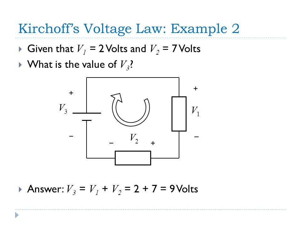 Kirchoff's Voltage Law: Example 2  Given that V 1 = 2 Volts and V 2 = 7 Volts  What is the value of V 3 .