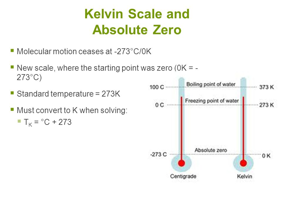  Molecular motion ceases at -273°C/0K  New scale, where the starting point was zero (0K = - 273°C)  Standard temperature = 273K  Must convert to K when solving:  T K = °C + 273 Kelvin Scale and Absolute Zero
