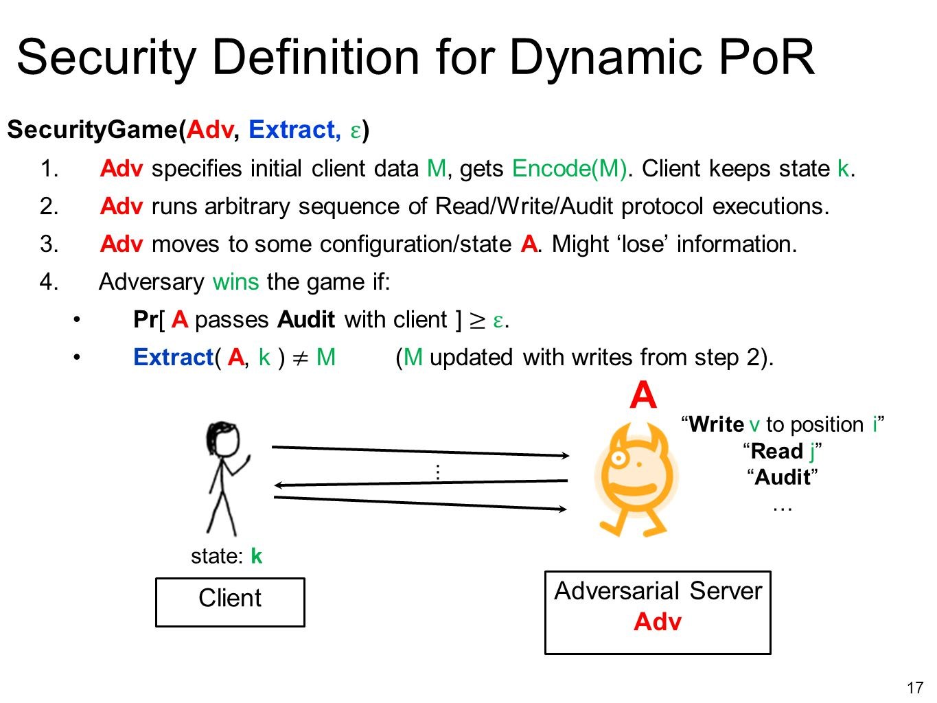 """17 Security Definition for Dynamic PoR """"Write v to position i"""" """"Read j"""" """"Audit"""" …... A state: k Adversarial Server Adv Client"""