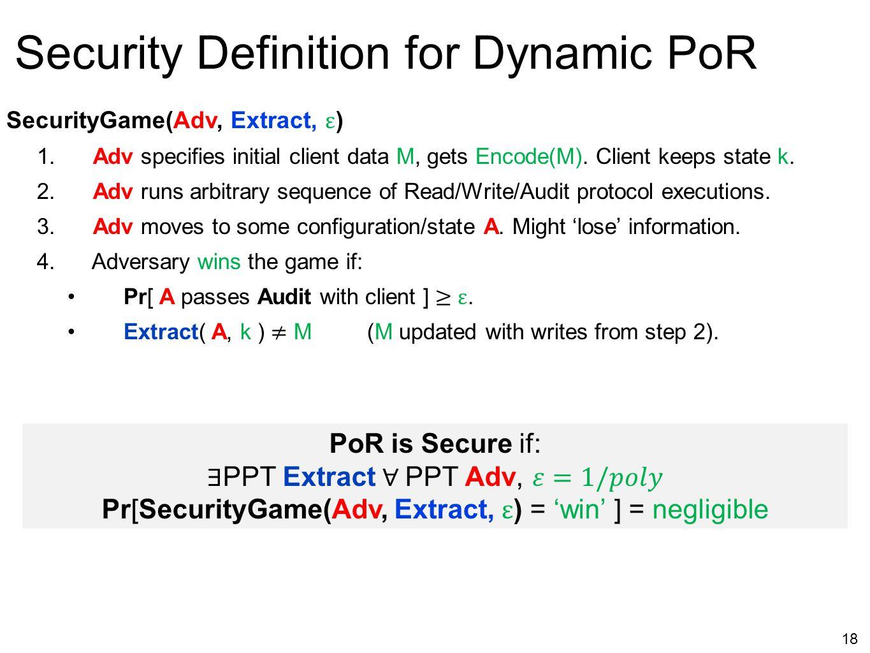 18 Security Definition for Dynamic PoR