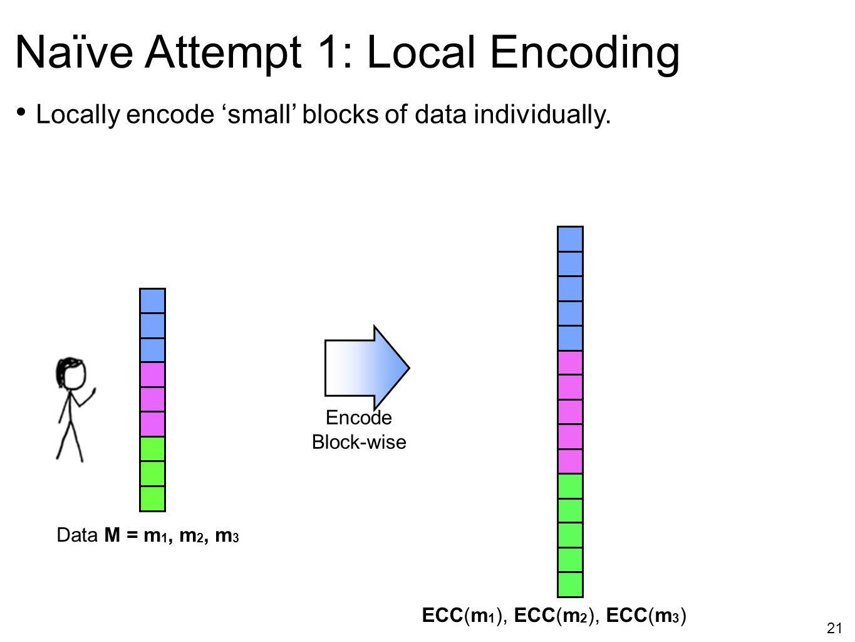 21 Naïve Attempt 1: Local Encoding Locally encode 'small' blocks of data individually. Encode Block-wise ECC(m 1 ), ECC(m 2 ), ECC(m 3 ) Data M = m 1,