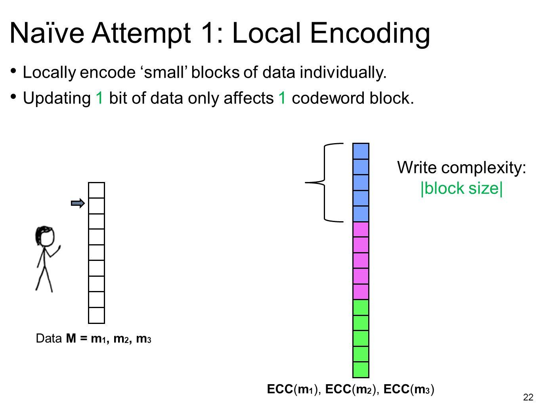 22 Naïve Attempt 1: Local Encoding ECC(m 1 ), ECC(m 2 ), ECC(m 3 ) Write complexity:  block size  Locally encode 'small' blocks of data individually.