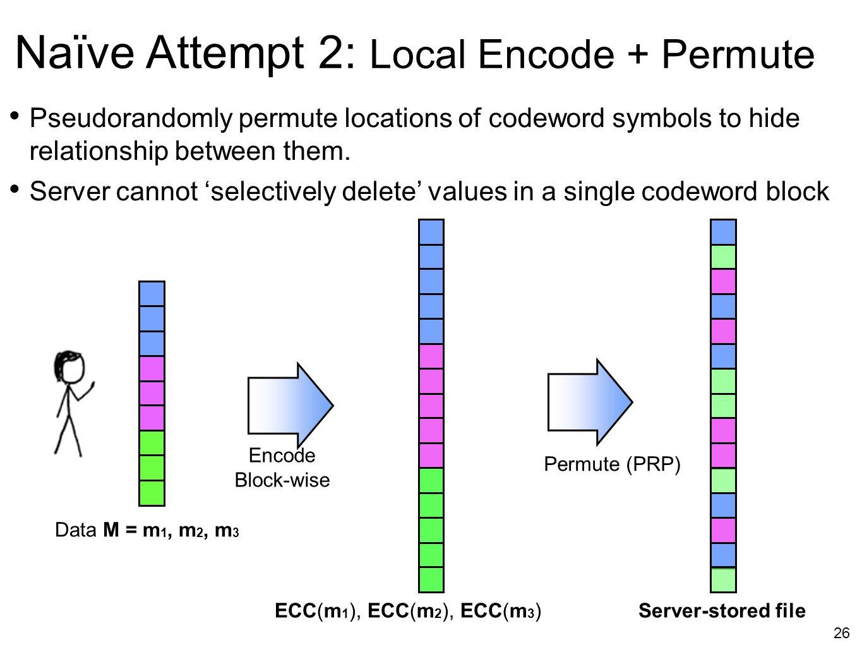 26 Naïve Attempt 2: Local Encode + Permute Encode Block-wise Data M = m 1, m 2, m 3 Pseudorandomly permute locations of codeword symbols to hide relat