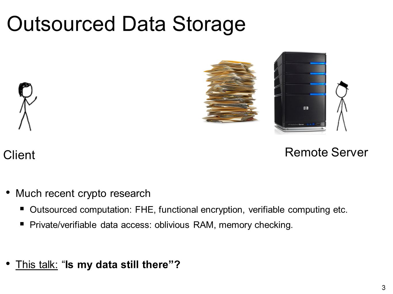 3 Outsourced Data Storage Much recent crypto research  Outsourced computation: FHE, functional encryption, verifiable computing etc.  Private/verifi