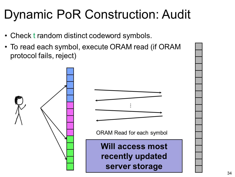 34 Dynamic PoR Construction: Audit ORAM Read for each symbol... Check t random distinct codeword symbols. To read each symbol, execute ORAM read (if O