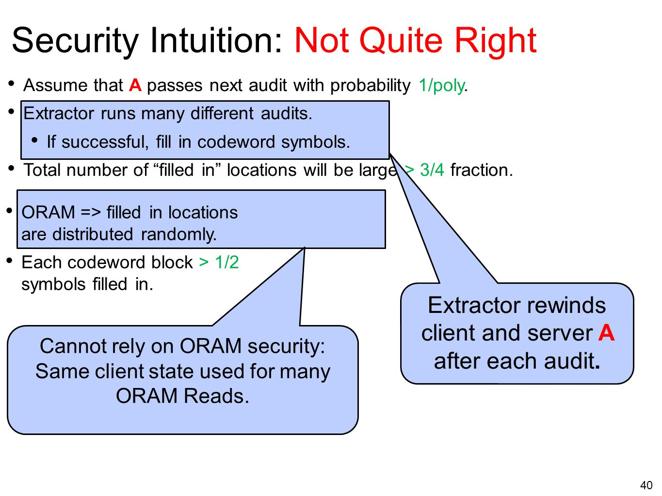 40 Security Intuition: Not Quite Right Assume that A passes next audit with probability 1/poly. Extractor runs many different audits. If successful, f